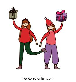 merry christmas women with sweater and gift boxes