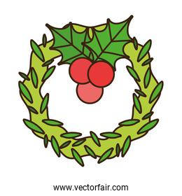 merry christmas wreath and holly berry decoration