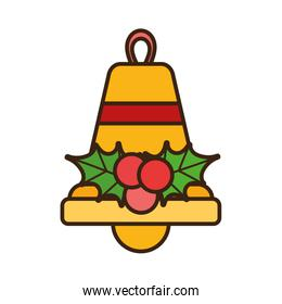 merry christmas bell holly berry celebration decorative