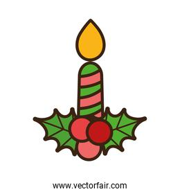 merry christmas candle holly berry celebration decorative