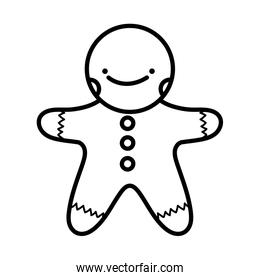 merry christmas celebration gingerbread man thick line