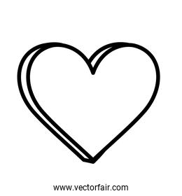heart love romantic icon on white background thick line