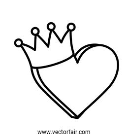 heart love crown icon on white background thick line