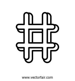 hashtag social media icon on white background thick line