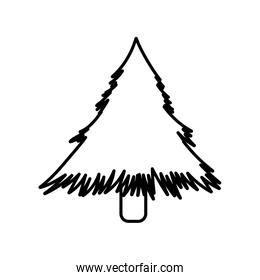 pine tree nature icon on white background thick line
