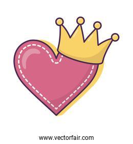 heart love crown icon on white background