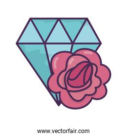 diamond and flower icon on white background