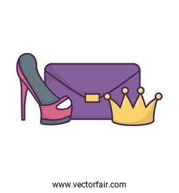 handbag high heels and crown icon on white background