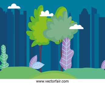 cityscape town urban nature trees grass sky