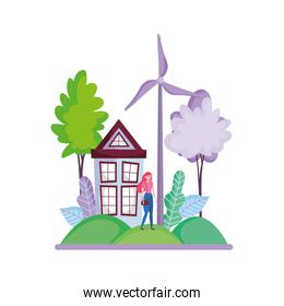 woman wind turbine house forest ecology