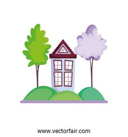 house facade trees nature scenery over white