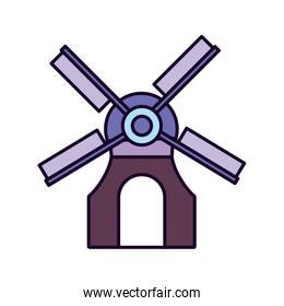 classic barn windmill icon on white background