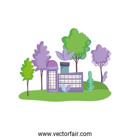 factory building nature trees ecology