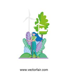 young woman wind turbine trees ecology