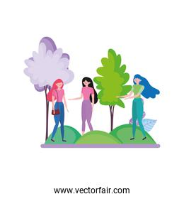 group young women in the park trees nature ecology