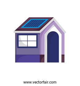 ecology house with solar panel energy