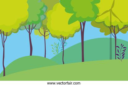 landscape field trees forest nature sky
