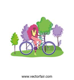 ecology young woman riding bike in the outdoor