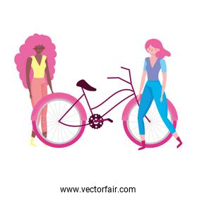 ecology young women with bike transport