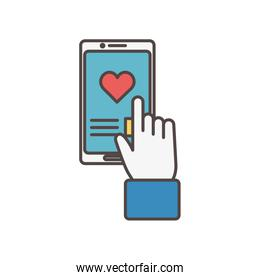 click smarphone love chat social media icon
