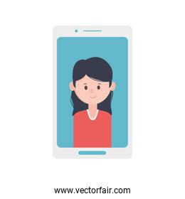 smartphone with young woman on screen
