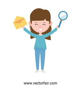 young woman with envelope and magnifier