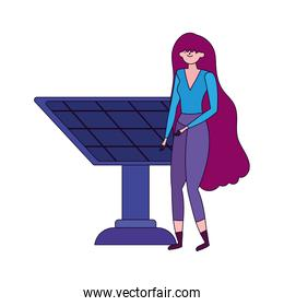 ecology young woman with solar panel alternative