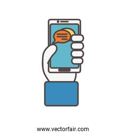 hand with smartphone chat social media icon