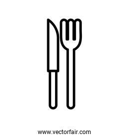 Isolated fork and knife line style icon