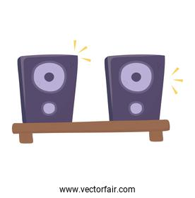 Isolated music speakers vector design