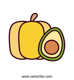 Isolated avocado and pumpkin vector over white