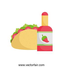 Isolated mexican taco and chilli bottle vector design