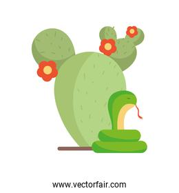 Isolated cactus and snake vector design
