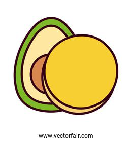 Isolated mexican avocado and amolette vector design