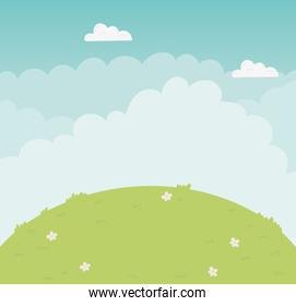 Mountain and clouds vector design