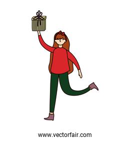 merry christmas woman with ugly sweater holding gift decoration