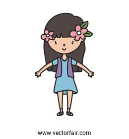 happy little girl cartoon character with flowers in the hair
