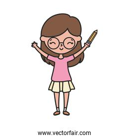 happy little girl cartoon character with pencil and glasses