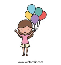 little girl cartoon character with decorative balloons