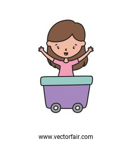 happy little girl cartoon character in wagon toy