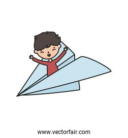 little boy cartoon character in paper plane playing