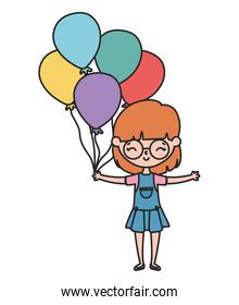 happy little girl cartoon character with decorative balloons