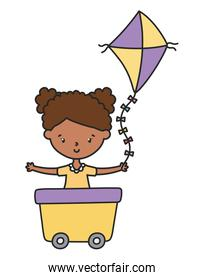 happy little girl cartoon character in wagon with kite