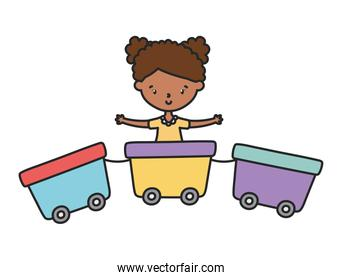 little girl cartoon character playing in train wagons toy