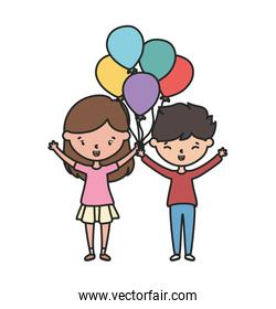 happy boy and girl with balloons decoration