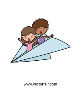little boy and girl playing in paper plane