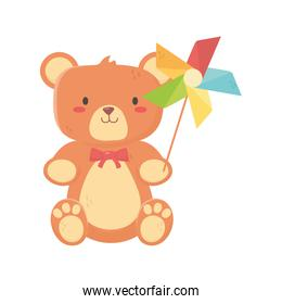 kids toy, teddy bear and pinwheel with stick toys