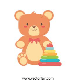 kids toy, teddy bear and plastic pyramid toys
