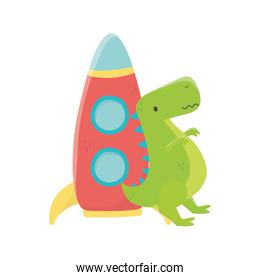 kids toy, plastic rocket and green dinosaur toys
