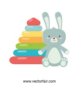 kids toy, rubber pyramid and rabbit furry toys